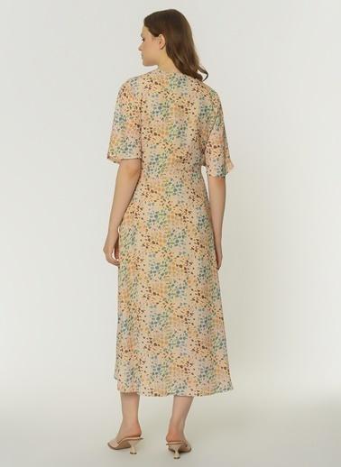 NGSTYLE Kadın Düğmeli Midi Elbise NGKSS21EL0067 Renkli